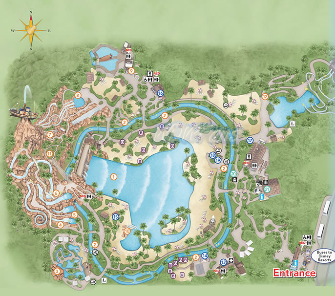 Typhoon Lagoon - Water Park at Disney World - Info and Park Map
