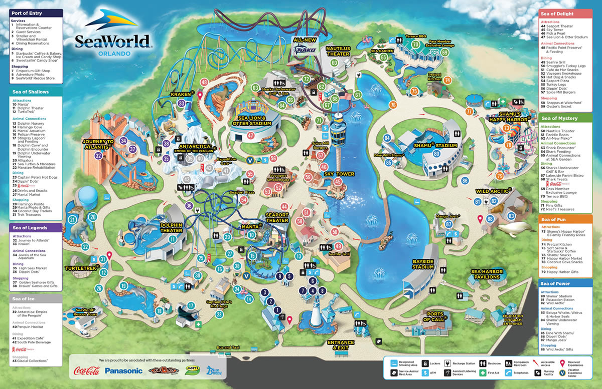SeaWorld - Park information and guide map for SeaWorld Orlando